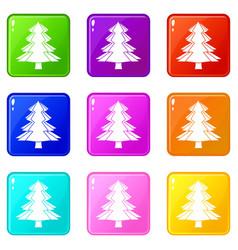 Fir tree icons 9 set vector