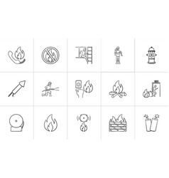 fire hand drawn sketch icon set vector image