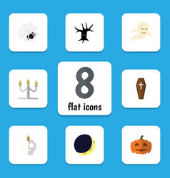 flat icon halloween set of gourd candlestick vector image