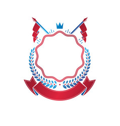 Graphic emblem created with ancient crown and vector