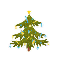 green pine tree decorated with toys and candies vector image