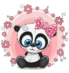 Greeting card panda girl with flowers vector