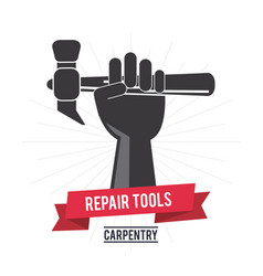 Hammer hand tool icon repair concept vector