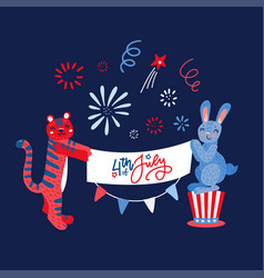 hand drawn rabbit and tiger with greeting banner vector image