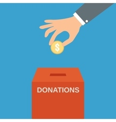 Hand putting coin in the donate box vector