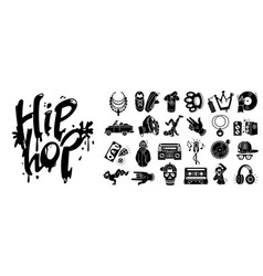 Hiphop icons set simple style vector