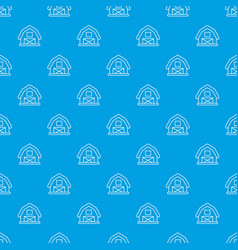 Horse barn pattern seamless blue vector