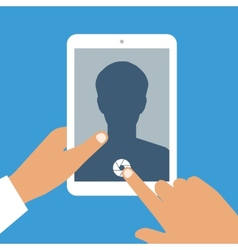 Human hand holds tablet pc with opened camera app vector image