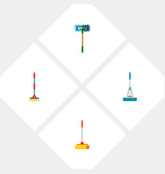 Icon flat broomstick set of broomstick sweep mop vector