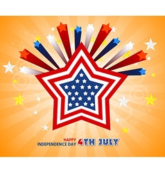 Independence Day- 4 th July with star and flag vector