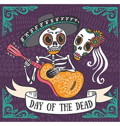 Invitation poster to the day of the dead party dea vector
