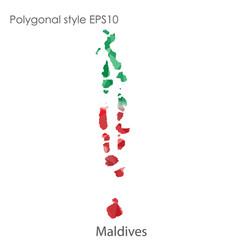 Isolated icon maldives map polygonal geometric vector