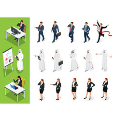 Isometric business characters poses set vector