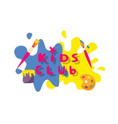 Kids club logo art studio label isolated on white vector