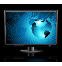 lcd panel with world background vector image