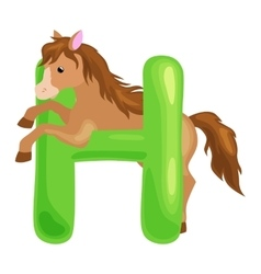 Letter with horse animal for kids abc education in vector