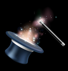 magic tophat and magic wand vector image