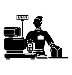 Man cashier icon simple style vector