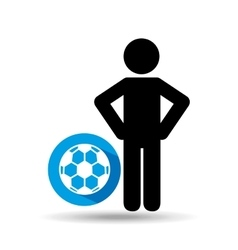Man hands on waist with soccer ball icon vector