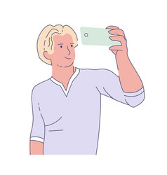 man taking selfie with smartphone frontal camera vector image
