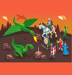 Medieval heroes isometric composition vector