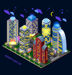 night city isometric composition vector image