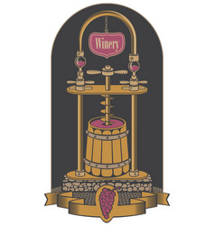 On theme winery vector