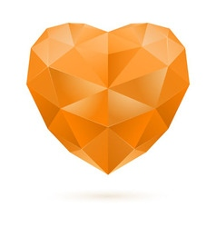 Orange polygon heart vector