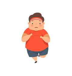 overweight sweaty boy running cute chubby child vector image