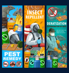 Pest control sanitary service banners set vector