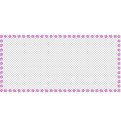 rectangle frame of pink paw prints on transparent vector image