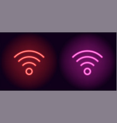 Red and pink neon wi-fi sign vector