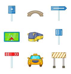 Road work ahead icons set cartoon style vector