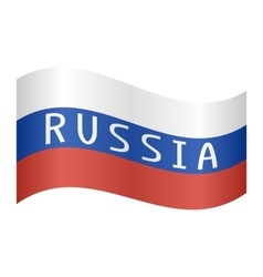 Russian flag with word Russia waving on white vector image