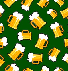Seamless background with beer patch designs vector