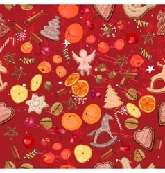 Seamless dark red with traditional Christmas vector image
