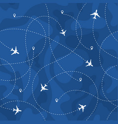 seamless pattern airplanes routes vector image