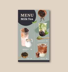 Set brown sugar bubble milk tea and matcha menu vector