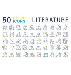 Set line icons literature vector