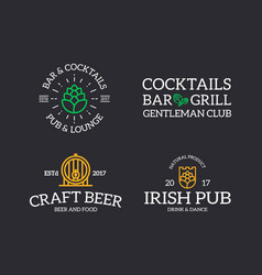 set of retro vintage beer and alcohol hop barrel vector image