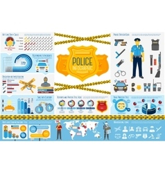 Set police work infographic elements with icons vector