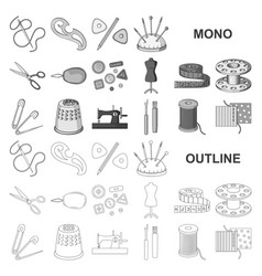 Sewing atelier monochrom icons in set collection vector