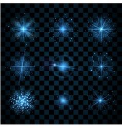 Shine blue stars glitters sparkles vector