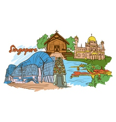 Singapore doodles vector