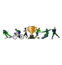 sports set athletes various vector image