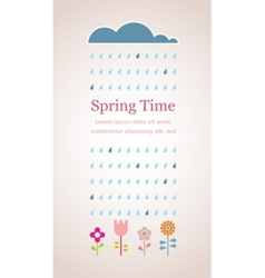 Spring raining cloud with abstract flowers vector image