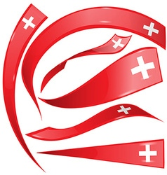 Swiss flag set on white background vector