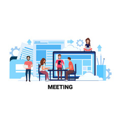 team brainstorming business meeting concept vector image