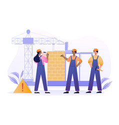 Team male and female builders is working vector