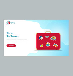 Time to travel red baggage with stickers website vector
